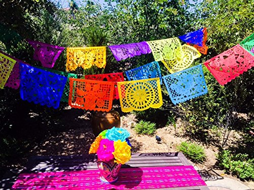 Mexican Paper Picado Banner MULTICOLOR LARGE PAPER 18' feet long Bunting