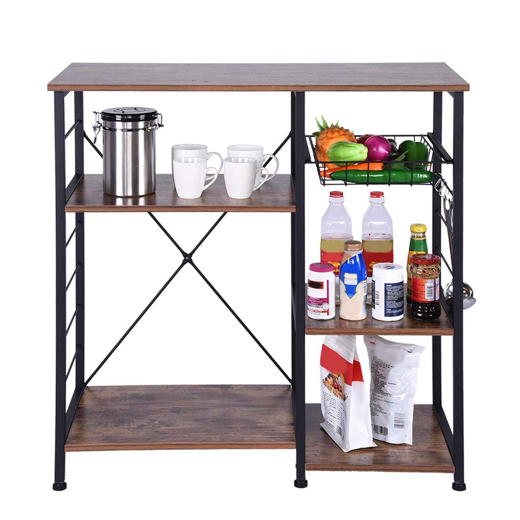 QIANSKY 4-Tier+3-Tier Kitchen Bakers Rack - Vintage Kitchen Baker's Rack Microwave Oven Stand Metal Frame Storage Shelf - Hanging Hooks & Spice Rack for Kitchen Storage - 【Ship from USA】 by QIANSKY