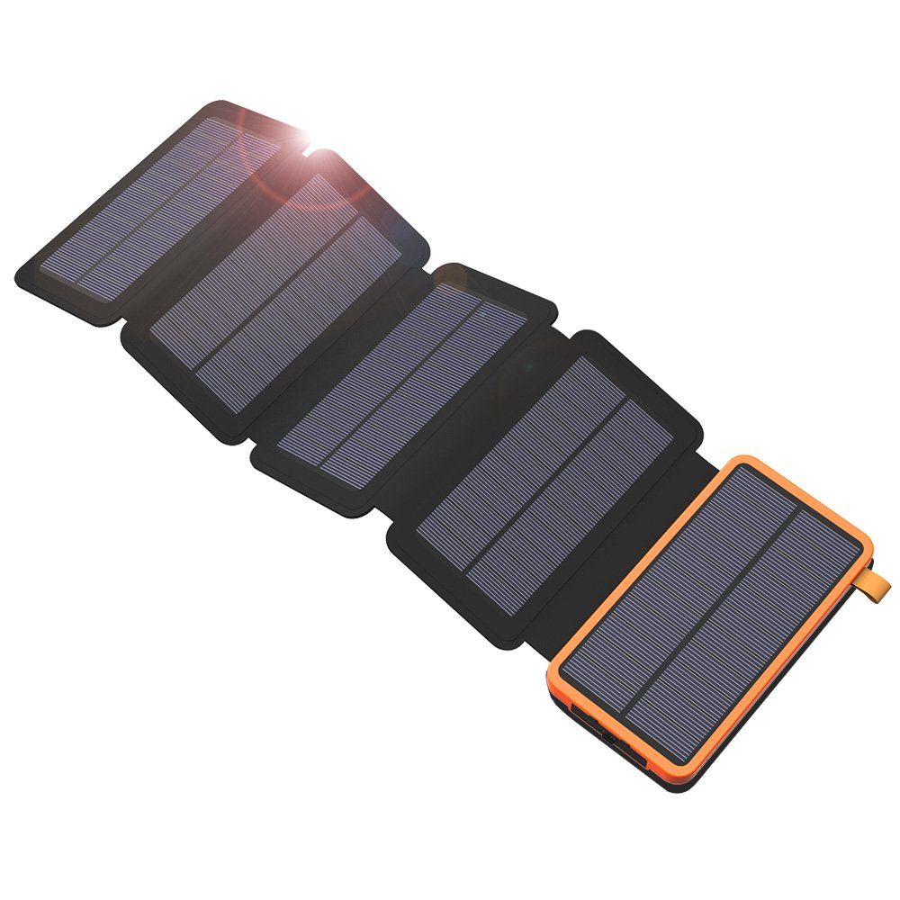 X-DRAGON Solar Charger, 20000mAh Solar Charger Power Bank with 5 Solar Panels, Dual USB, LED Flashlight Waterproof Portable External Compatible with iPhone, Cell Phones, ipad and More-Orange