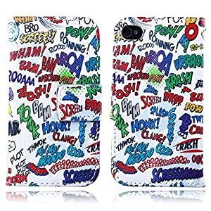 Iphone 4/4s Case, In Angel Wallet Case For Iphone 4/4s Case, Punk Style PU Leather Flip Stand Function Magnetic Clasp Creative Case Card Slots Cartoon Series White Red Green