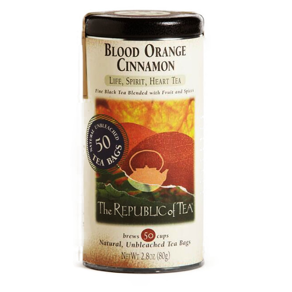 The Republic of Tea Blood Orange Cinnamon Tea - Fine Black Tea Blended with Fruit and Spices - Natural, Unbleached Tea Bags - Crafted of Fine Black Tea, Cranberries and Blood Orange Flavor - 50 Bags