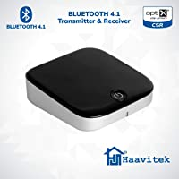 Haavitek Bluetooth 4.1 Low Latency Wireless Transmitter Receiver Pairing 2 Headphones or Speakers, Stereo System and 3.5 mm Audio Adapter (Black)