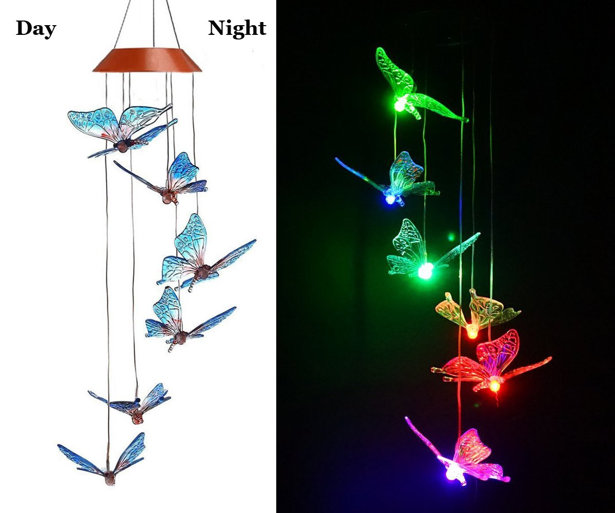 Amazing Wind Chime,Color Changing Solar Mobile Wind Chimes Lights Hanging Wind Bell Light Night Hanging lamp for Patio Garden Lighting Home Decoration with Spinning Hook Wanmingtek SOLARPWCE