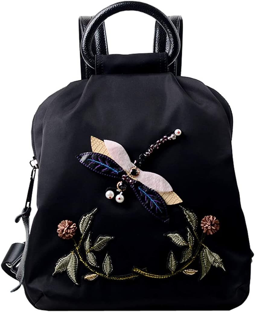 Color : Black RABILTY Oxford Cloth with Leather Womens Embroidered Waterproof Backpack