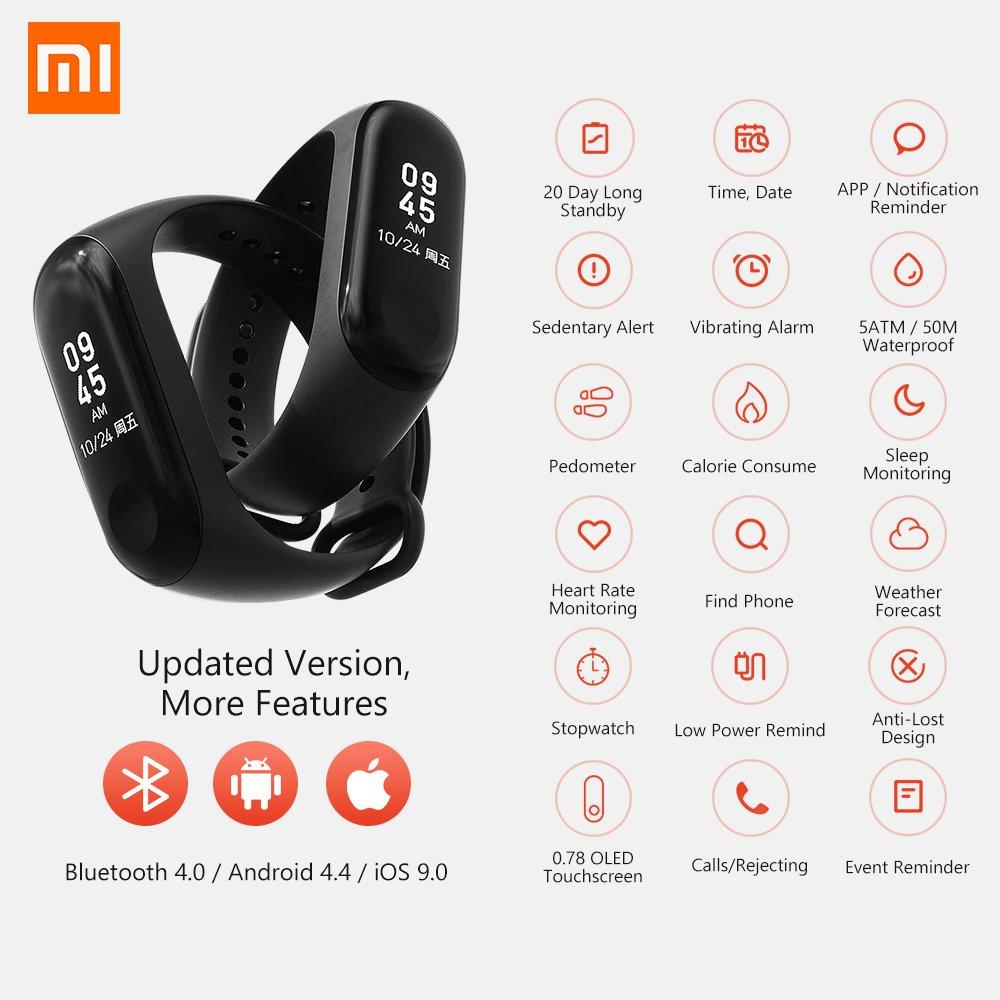 Xiaomi Mi Band 3 Fitness Tracker 0.78 OLED Display Heart Rate Monitor 50M Pulsera Impermeable Podómetro Actividad Tracker Forecast Smart Reminder ...