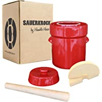 Humble House SAUERKROCK Fermentation Crock with Glazed Weights - 2 Liter (0.5 Gallon) German-Style Water Sealed Jar in…