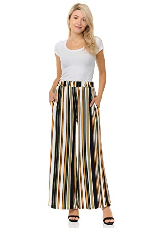 09f3a105df57 Pastel by Vivienne Women's Striped Palazzo Pants Small Ivory Olive Black  Striped