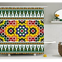 Moroccan Shower Curtain by Ambesonne, Vibrant Old Fashion Indie African Tribal Pattern with Eastern Influences Print, Fabric Bathroom Decor Set with Hooks, 70 Inches, Green Yellow