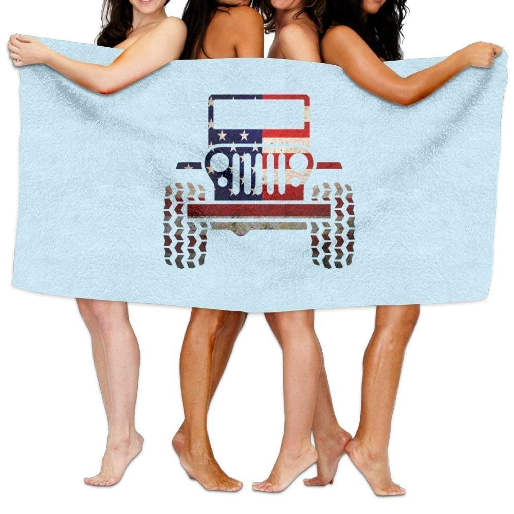 KHETAMNY Beach Pool Custom Bath Towels Soft Jeep Flag Super Absorbent Microfiber