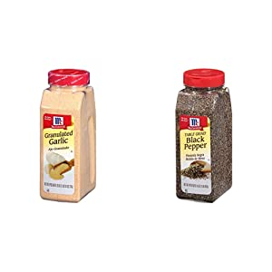 McCormick Table Ground Black Pepper, 16 oz with McCormick Granulated Garlic, 26 oz