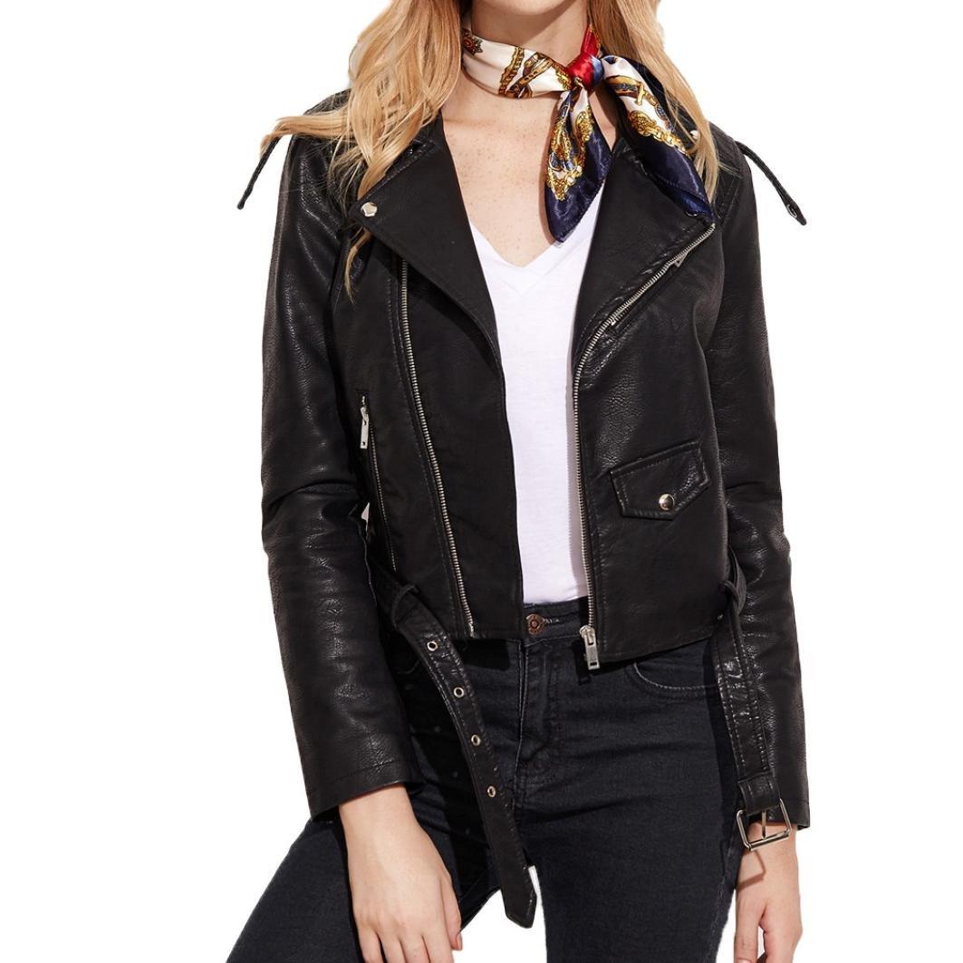 SMALLE Cool Women Faux Leather Racing Style Biker Jacket (L, Black)