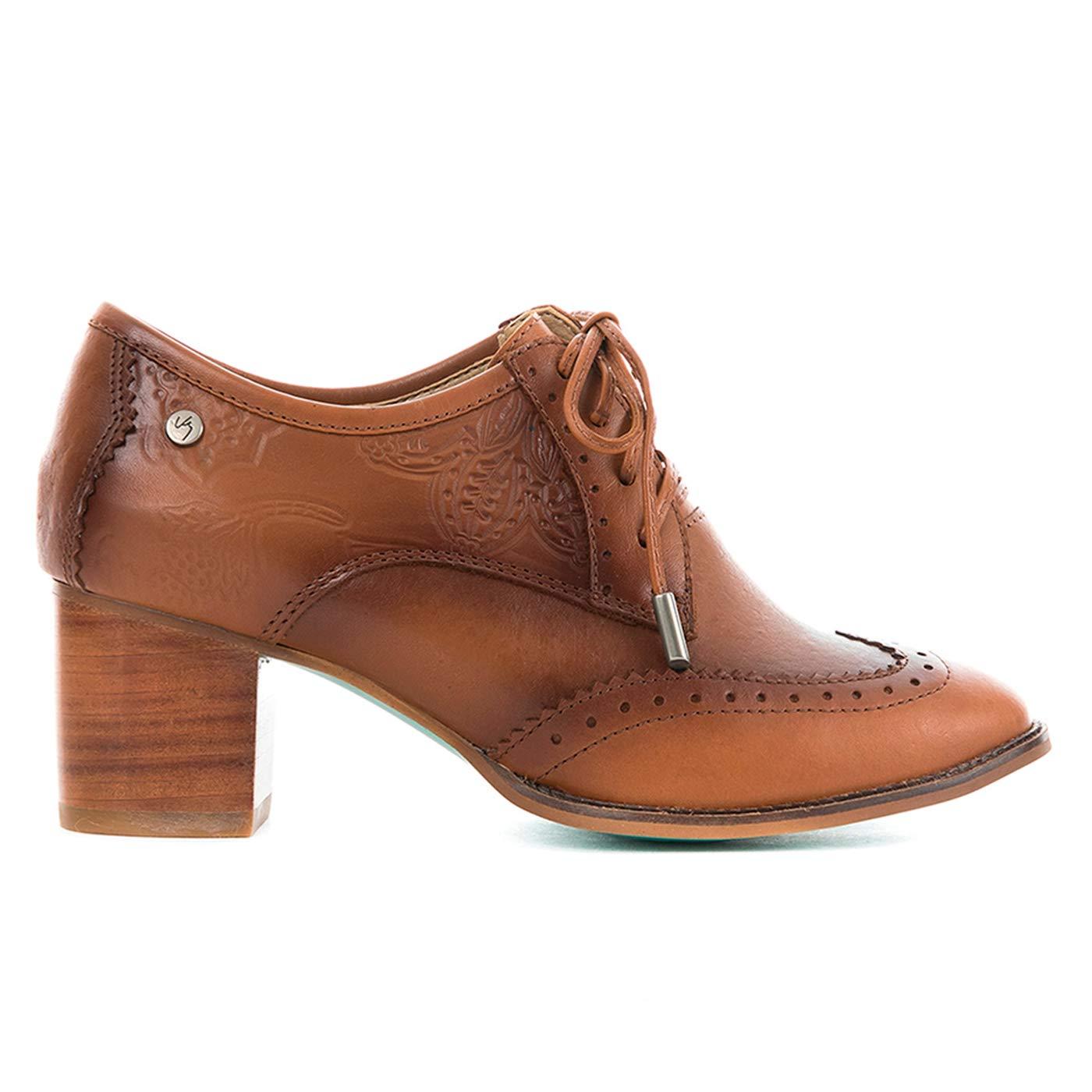 VELEZ 23554 Women Colombian Leather Heels Oxford Shoes | Zapatos Oxford de Cuero Genuino Colombiano para Mujer Brown/Black 36