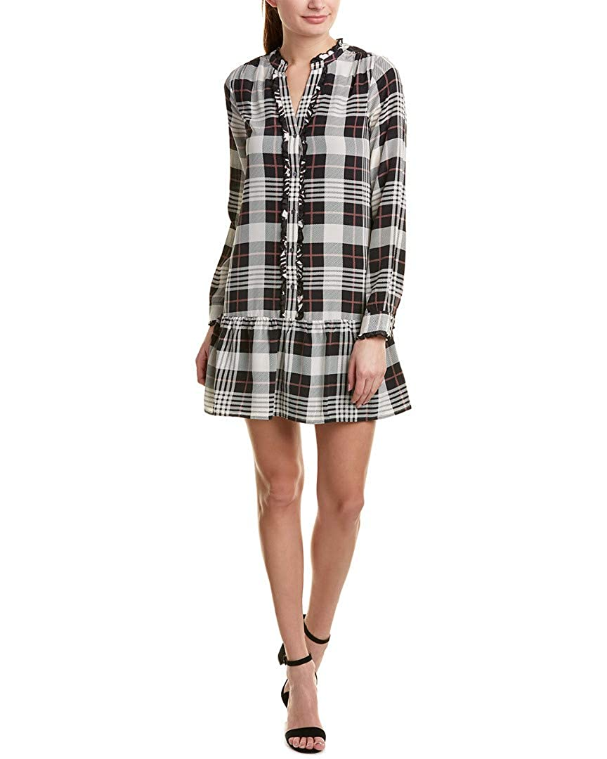 Caviar Porcelain Joie Womens Plaid Ruffled Babydoll Dress