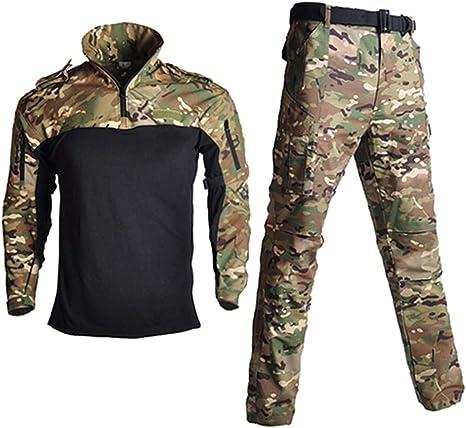 Uniformes tácticos de Camuflaje para Hombres, Camisetas Militares y Pantalones de Combate, Ropa de Paintball, Traje, Juego de Disparos de Caza: Amazon.es: Deportes y aire libre