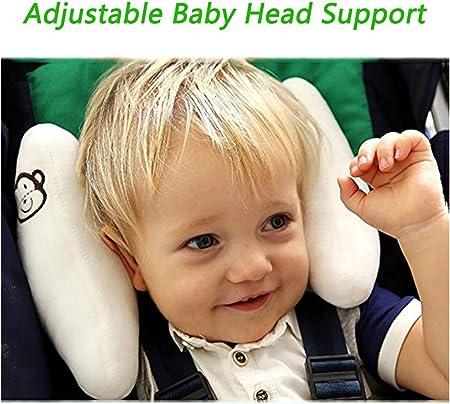 Inchant ajustable del bebé suave del cuello de apoyo a los niños Los niños pequeños Viajes coche de seguridad amortiguador de la almohadilla en forma de plátano - Blanco