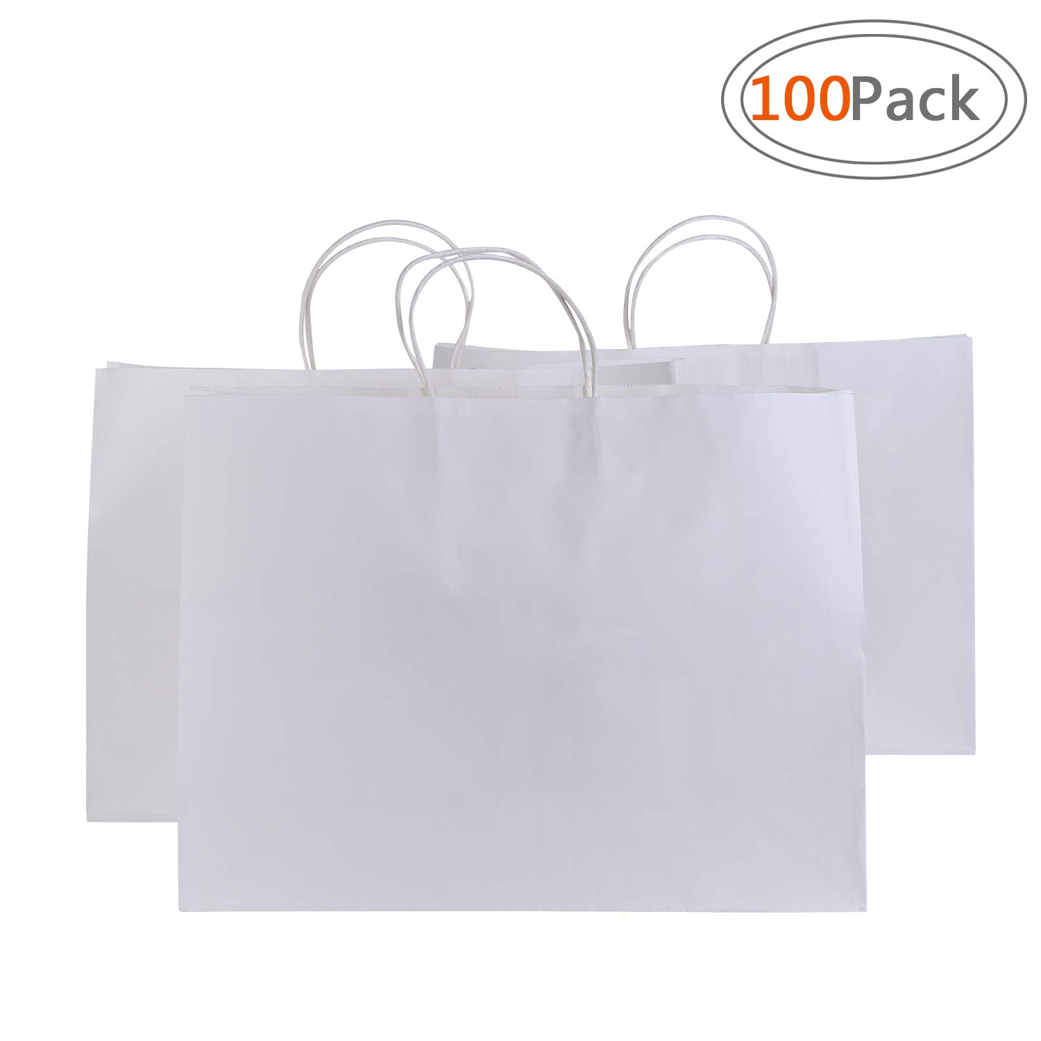 Road 16x6x12 Inches 100 Pcs Large Kraft White Paper Bags with Handles, Shopping, Grocery, Mechandise, Party Bags by Road