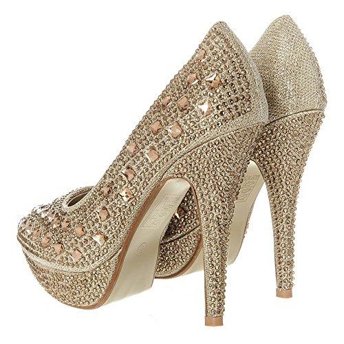 Shoes Damen Gold High Schuhe Heel Absatz High Stiletto MISSDIVA Pumps Plateau zqv5adw