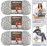 Bernat Softee Chunky Yarn Bundle Super Bulky #6, 3 Skeins Grey Ragg Twist 28047