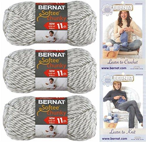 Bernat Chunky Yarn - Bernat Softee Chunky Yarn Bundle Super Bulky #6, 3 Skeins Grey Ragg Twist 28047