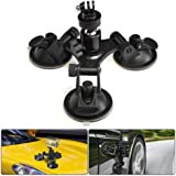 Suction Cup Mount for Gopro, leegoal Tri-Cup Action Camera Holder DSLR Camcorder Stand for Car, Glass, Window…