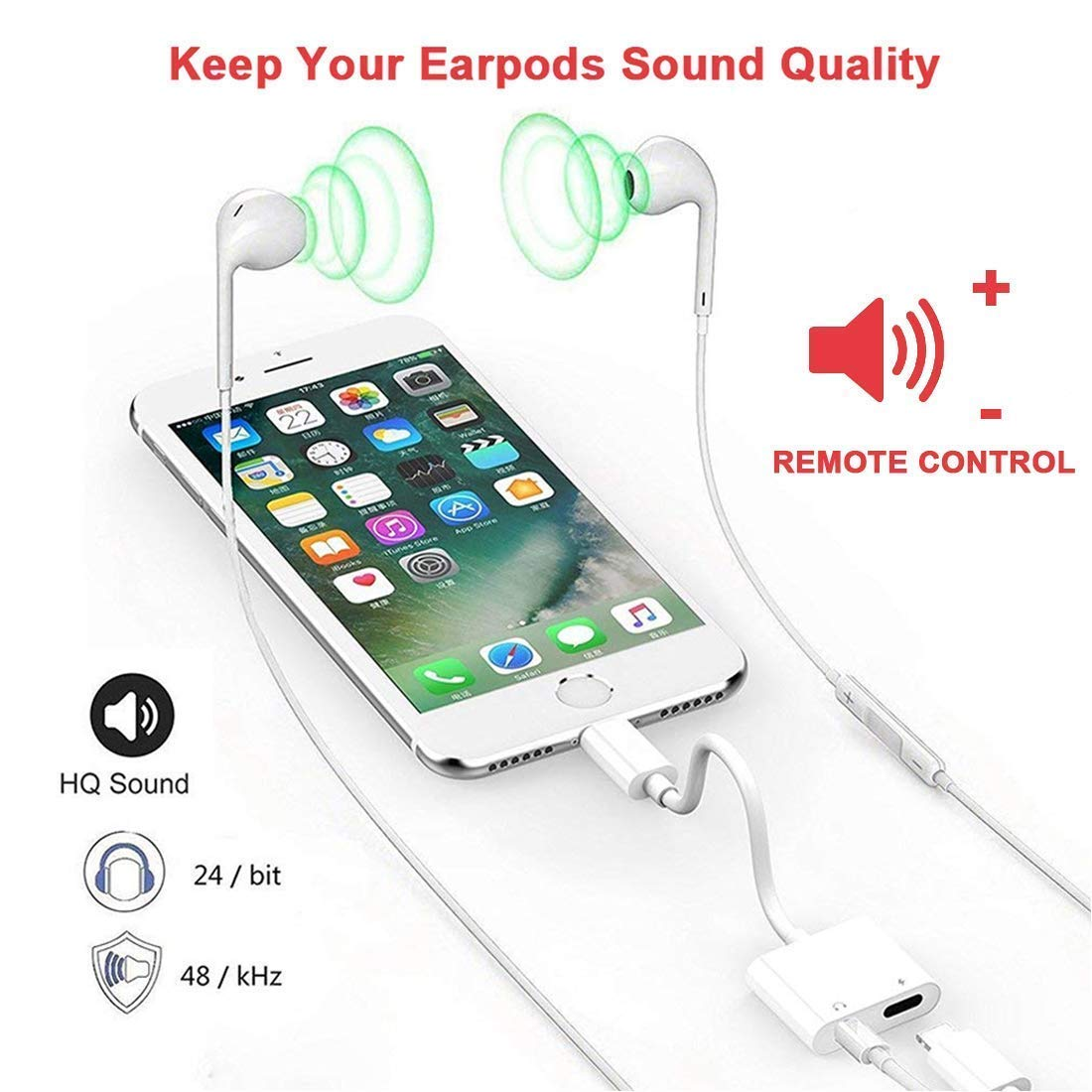 Headphone Jack for iPhone Earphone AUX Audio Splitter Adapter 3.5mm Jack Dongle Earphone Connector Compatible for iPhone 7 Plus//X//XS//XR//8//8 Plus Splitter Music and Charge Support iOS12 Accessory More