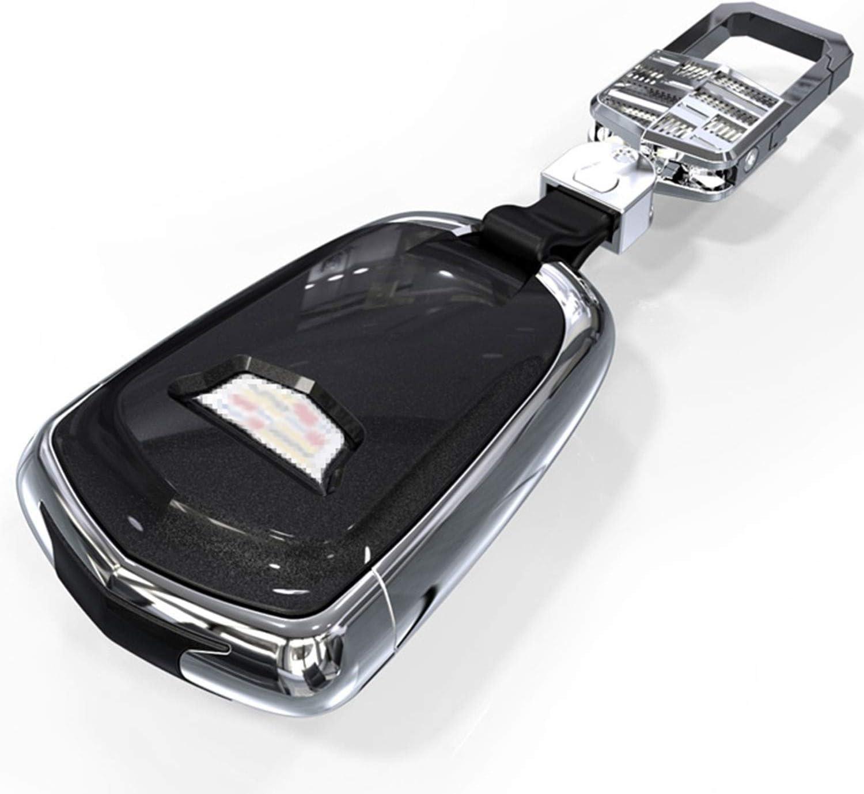 Kwaks Car Key Cover TPU Auto Key Case Smart Remote Key Protector Full Protection Compatible for Cadillac XTS ATS-L XT4 XT5 CT6 SRX Escalade Key,Shield Logo,with Key Chain White