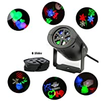 ALED LIGHT® LED Landscape Projector Lamp Moving Snowflake Spotlight 6 Gobo Lens Fairy Light Perfect For Christmas Halloween Wedding Party Decor