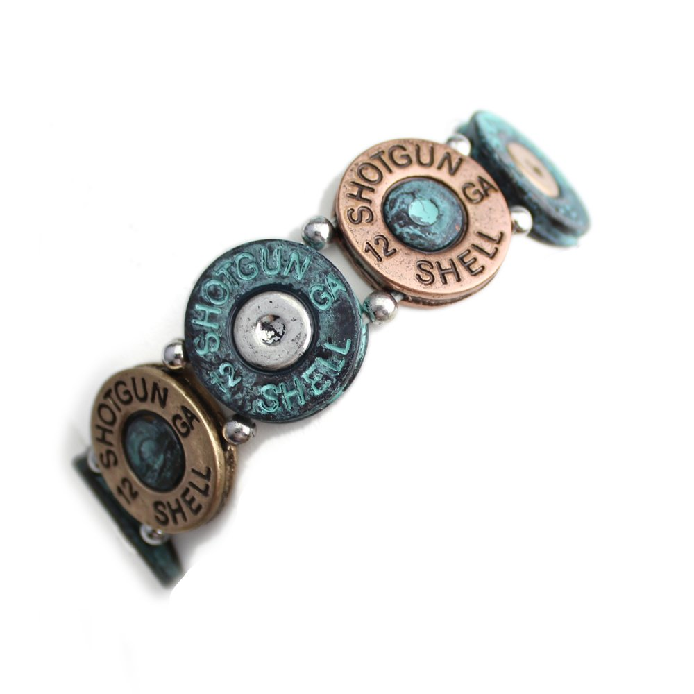 Mixed Metal (Silver, Brass, and Patina) Western Shotgun Shell Bracelet from the WYO-HORSE Jewelry Collection (Patina) by Wyo-Horse (Image #2)