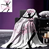 smallbeefly Latin Digital Printing Blanket Silhouette of a Woman Dancing Samba Salsa Latin Dances Spain and Mexico Culture Print Summer Quilt Comforter Pink Black