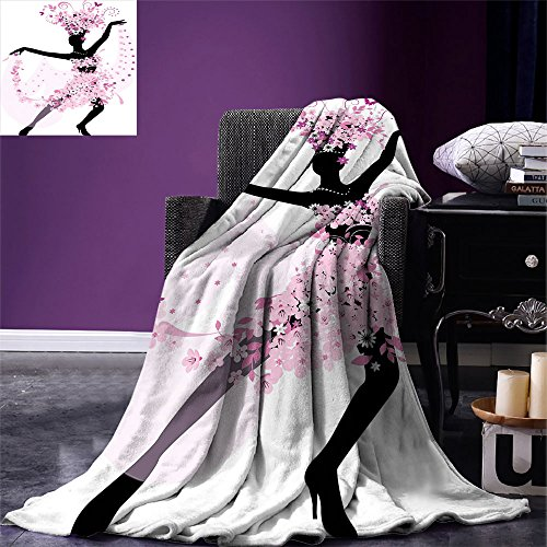 smallbeefly Latin Digital Printing Blanket Silhouette of a Woman Dancing Samba Salsa Latin Dances Spain and Mexico Culture Print Summer Quilt Comforter Pink Black by smallbeefly