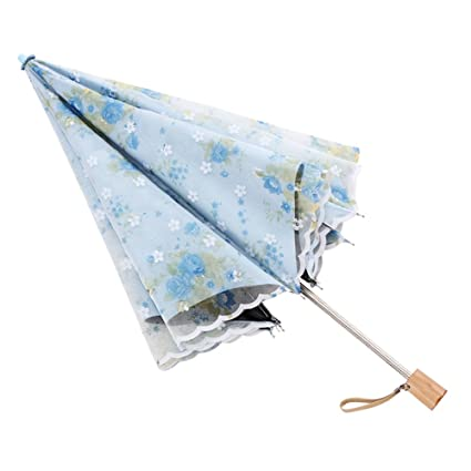 9bfcfd57973 ZHUSAN Umbrella Two Folding With 8 Ribs Double Layer Princess Sunscreen  Vinyl Embroidery Lace Parasol Sun