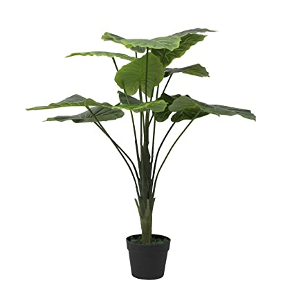 Merveilleux Artificial Plant  Fake Silk Palm Potted Plant 2ft ,Set Of 2 Artificial Taro  Tree