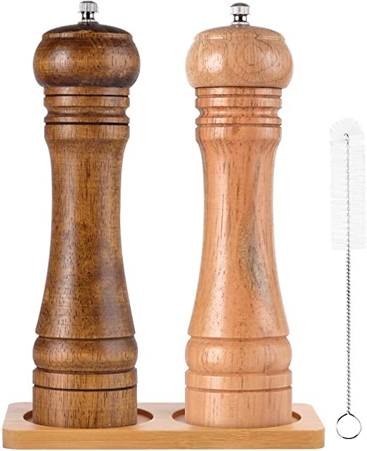 8 Inch Easyinsmile Salt and Pepper Grinders Pepper Mill Classical Oak Wood Salt and Pepper Mill with Strong Adjustable Grinder Kitchen Tools