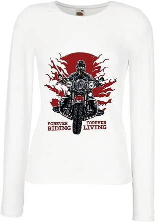 lepni.me Camisetas de Manga Larga para Mujer para Siempre en Motocicleta, Vida eterna: eslóganes de Motos, Citas de Motos, Ideas de Regalos para Motociclistas