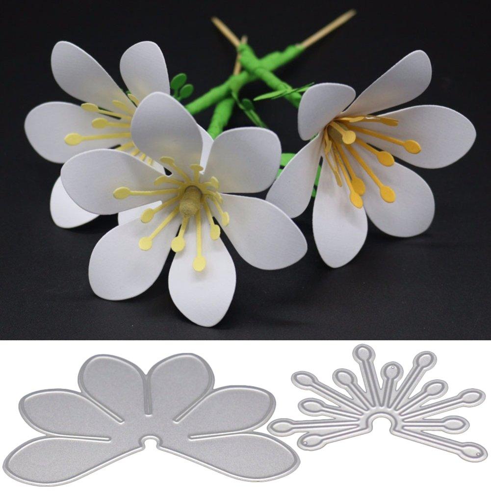 dontdo Metall-Stanzformen mit Blumen- und Bl/ätterform f/ür Scrapbooking und zum Kartenbasteln Karbonstahl 4pcs Flower 8 St/ück One size