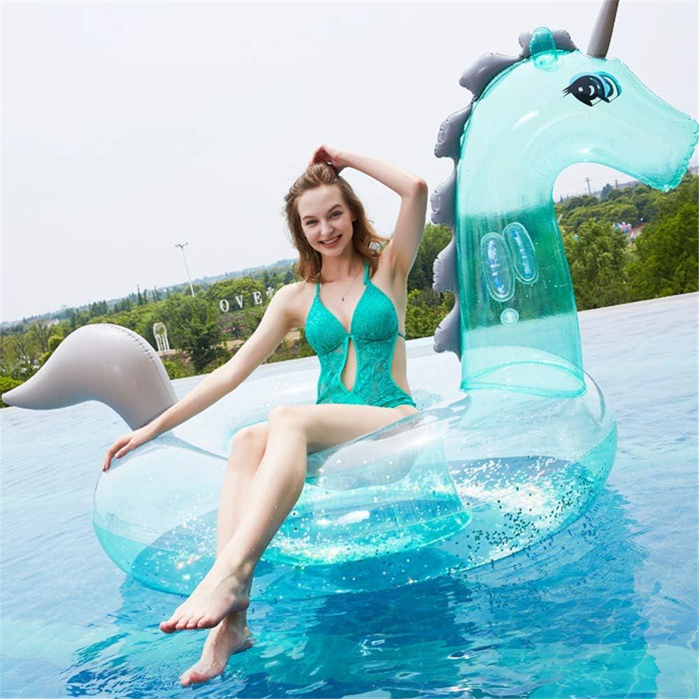 Sequins Swim Ring Transparent Adult Kids Inflatable Water Pool Swimming Ring UK