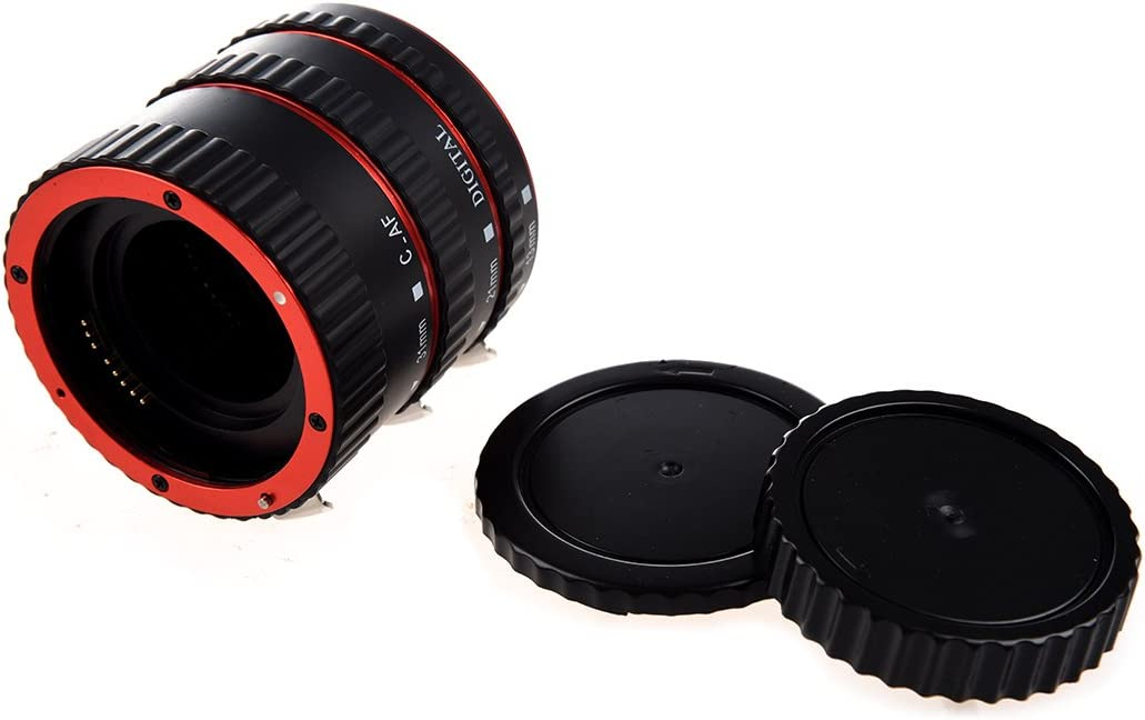 Vaorwne Colorful Metal TTL /& Autofocus AF Macro Extension Tube Ring for All EF and EF-S Lenses EF EF-S 60D 7D 5D II 550D Red and Black