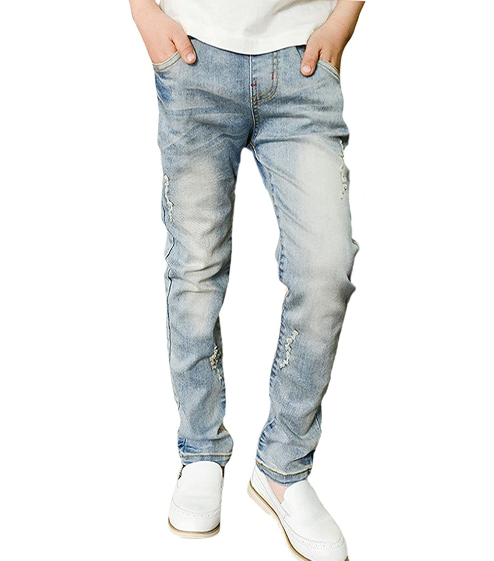 Tortor 1bacha Kid Boys' Distressed Washed Jeans Elastic Waist Denim Pants QXWX