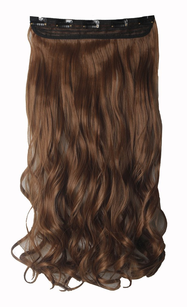 FIRSTLIKE 29'' Inch Curly Light Brown Clip In Hair Extensions Thick 3/4 Full Head Long One Piece 5 clips Soft Women Beauty Hairpiece