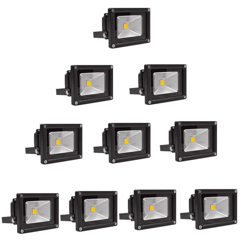 SAILUN 10W LED Fluter Warmweiß Strahler Licht Scheinwerfer Außenstrahler Wandstrahler Aluminium IP65 Wasserdicht 5 Stück Schwarz [Energieklasse A++]
