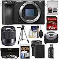 Sony Alpha A6500 4K Wi-Fi Digital Camera Body with Sigma 30mm f/1.4 Lens + 64GB Card + Battery & Charger + Case + Tripod + 3 Filters Kit