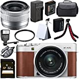 Fujifilm X-A5 Mirrorless Digital Camera with 15-45mm Lens (Brown) + 32GB SDHC Card + 52mm UV Filter + NP-W126 Lithium Ion Battery + 3 Piece Digital Grey Balance Cards Set Bundle