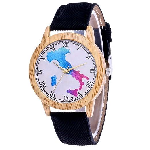 Mostfa Reloj de Pulsera para Ejercicios al Aire Libre, con Correa de Piel Casual,