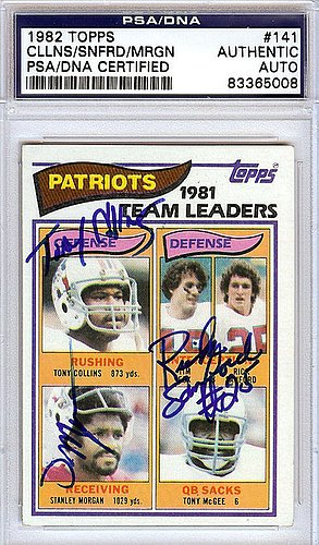 Tony Collins Rick Sanford and Stanley Morgan Signed 1982 Topps Trading Card - PSA/DNA Authentication - Autographed NFL Football Memorabilia