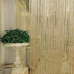 Eyotool 1x2 M Door String Curtain Rare Flat Silver Ribbon Thread Fringe Window Panel Room Divider Cute Strip Tassel for Wedding Coffee House Restaurant Parts, Champagne