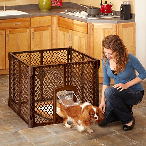 Pet Containment Play Pen with Swinging Dog Door