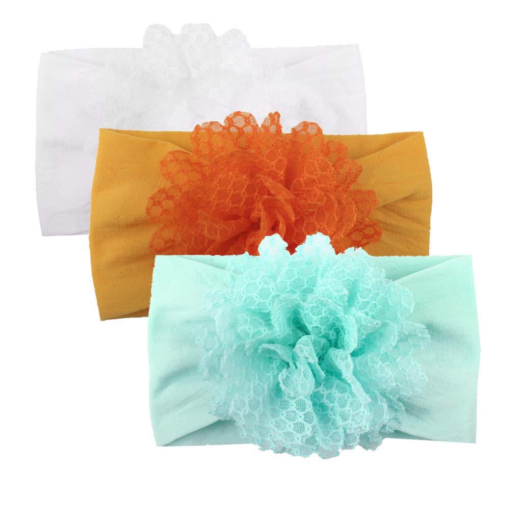 DingLong M/ädchen Baby Kleinkind Prinzessin Floral Stirnband Haarband 3PC Zubeh/ör Headwear A