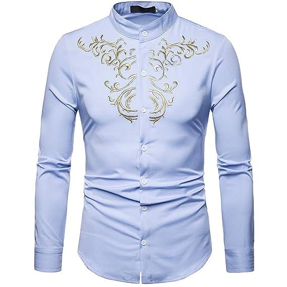 c05c667192 Cottory - Camisa de Manga Larga para Hombre con Cuello de Banda