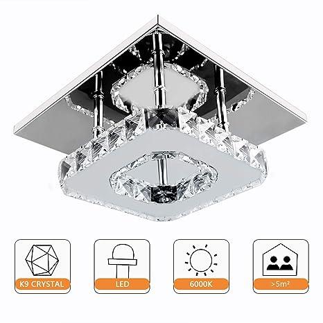 Lámpara de techo de cristal moderno, Beautihome Square Lámpara de techo de acero inoxidable para dormitorio, sala de estar y pasillo (8.3x8.3 ...