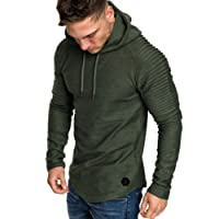 Men Long Sleeve Hoodie, Familizo Clearance Fashion Men's Autumn Winter Pleats Slim Fit Raglan Long Sleeve Hoodie Top Fashion Causal Top Comfortable Blouse